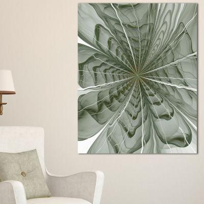 Designart Symmetrical Light Green Fractal FlowerFloral Canvas Art Print