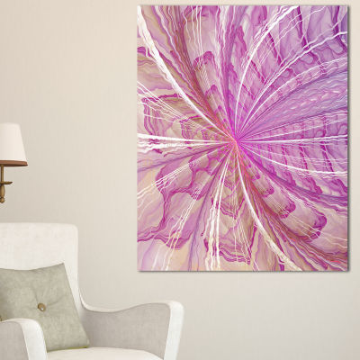 Designart Symmetrical Light Purple Fractal FlowerFloral Canvas Art Print