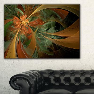 Designart Symmetrical Orange Digital Fractal Flower Floral Canvas Art Print