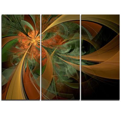 Designart Symmetrical Orange Digital Fractal Flower Floral Triptych Canvas Art Print