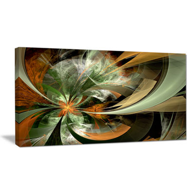 Designart Symmetrical Orange Green Fractal FlowerFloral Canvas Art Print