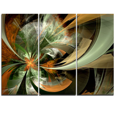 Designart Symmetrical Orange Green Fractal FlowerFloral Triptych Canvas Art Print