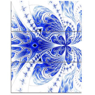 Designart Symmetrical Soft Blue Fractal Flower Floral Triptych Canvas Art Print