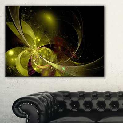 Designart Symmetrical Soft Gold Fractal Flower Floral Canvas Art Print