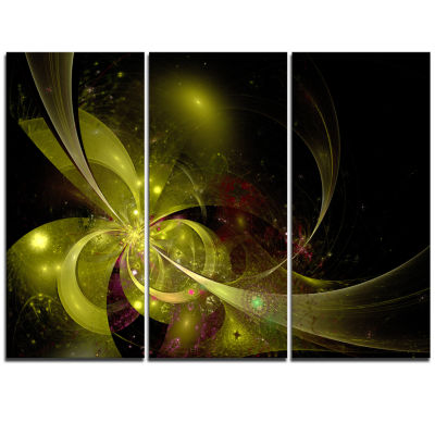 Designart Symmetrical Soft Gold Fractal Flower Floral Triptych Canvas Art Print