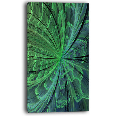 Designart Symmetrical Soft Green Fractal Flower Floral Canvas Art Print