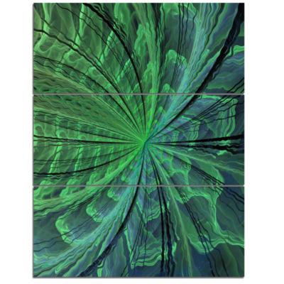Designart Symmetrical Soft Green Fractal Flower Floral Triptych Canvas Art Print