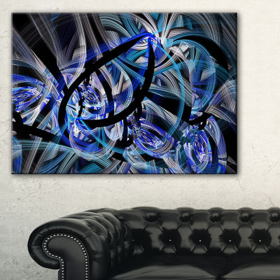 Designart Symmetrical Spiral Blue Flower Floral Canvas Art Print