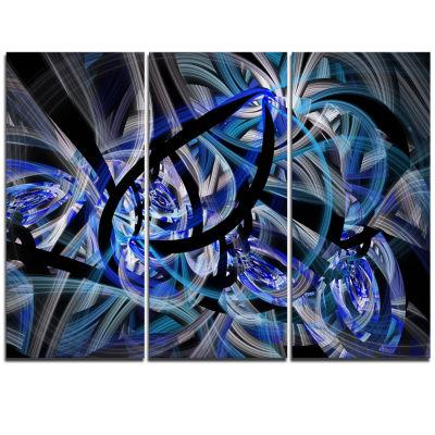 Designart Symmetrical Spiral Blue Flower Floral Triptych Canvas Art Print