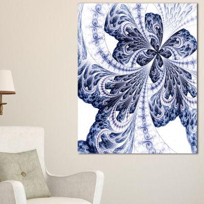 Designart Symmetrical Tight Blue Fractal Flower Floral Canvas Art Print