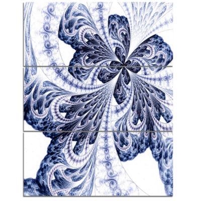 Designart Symmetrical Tight Blue Fractal Flower Floral Triptych Canvas Art Print