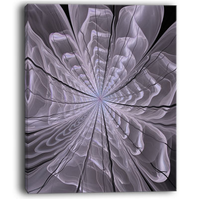 Designart Symmetrical Violet Digital Fractal Flower Floral Canvas Art Print