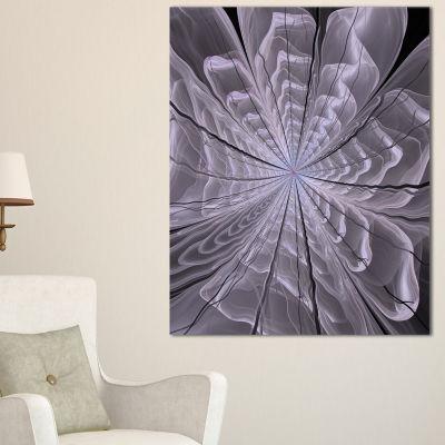 Designart Symmetrical Violet Digital Fractal Flower Floral Canvas Art Print