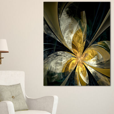Designart Symmetrical White Gold Fractal Flower Floral Canvas Art Print