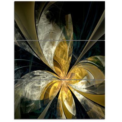 Designart Symmetrical White Gold Fractal Flower Floral Triptych Canvas Art Print