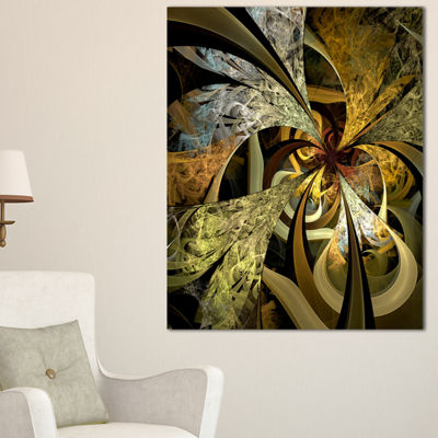 Designart Symmetrical White Golden Fractal FlowerFloral Canvas Art Print