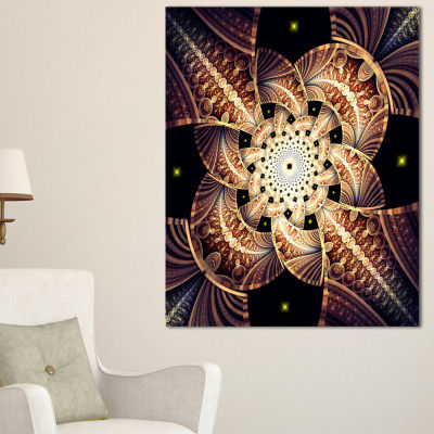 Designart Symmetrical Yellow Brown Fractal FlowerFloral Canvas Art Print