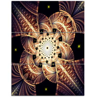 Designart Symmetrical Yellow Brown Fractal FlowerFloral Triptych Canvas Art Print