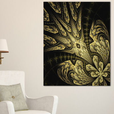 Designart Symmetrical Yellow Long Petal Flower Floral Canvas Art Print