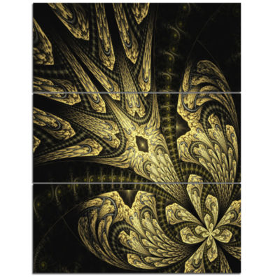 Designart Symmetrical Yellow Long Petal Flower Floral Triptych Canvas Art Print