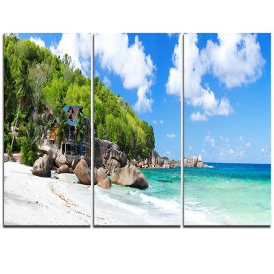 Designart Takamaka Beach In Mahe Island Modern Seascape Triptych Canvas Artwork