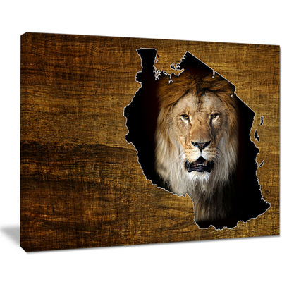 Designart Tanzania Wildlife Map Design Abstract Canvas Artwork