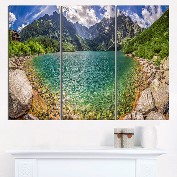 Designart Tatra Lake At Dawn Panorama Landscape Triptych Canvas Art Print