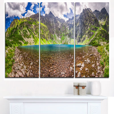 Designart Tatra Mountains Lake Panoramic View Landscape Triptych Canvas Art Print