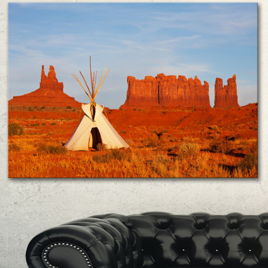 Designart Tent In Monument Valley Oversized Landscape Canvas Art