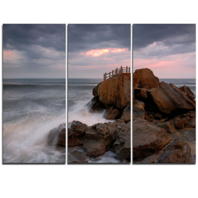 Design Art The Fantasy Island With Large Rocks Seashore Triptych Canvas Art Print