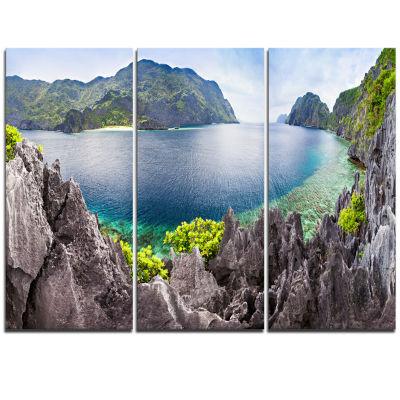 Designart The Lagoon Panorama Landscape TriptychCanvas Art Print