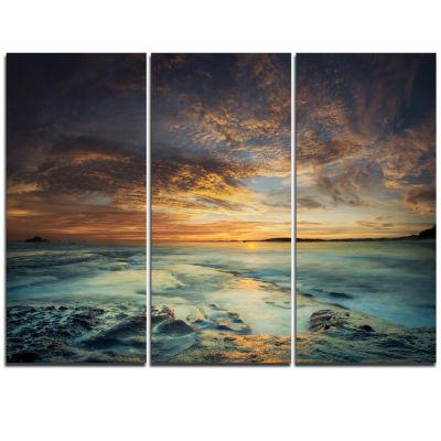 Designart The Tanah Lot Temple In Bali Island Modern Beach Triptych Canvas Art Print