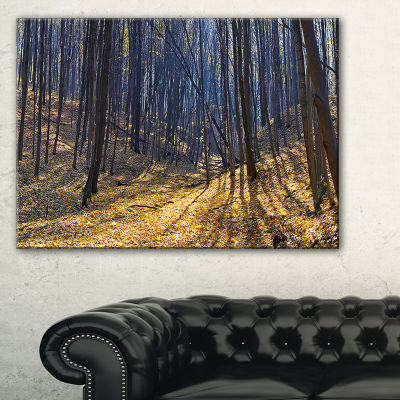 Designart Thick Autumn Forest Woods Oversized Forest Canvas Artwork