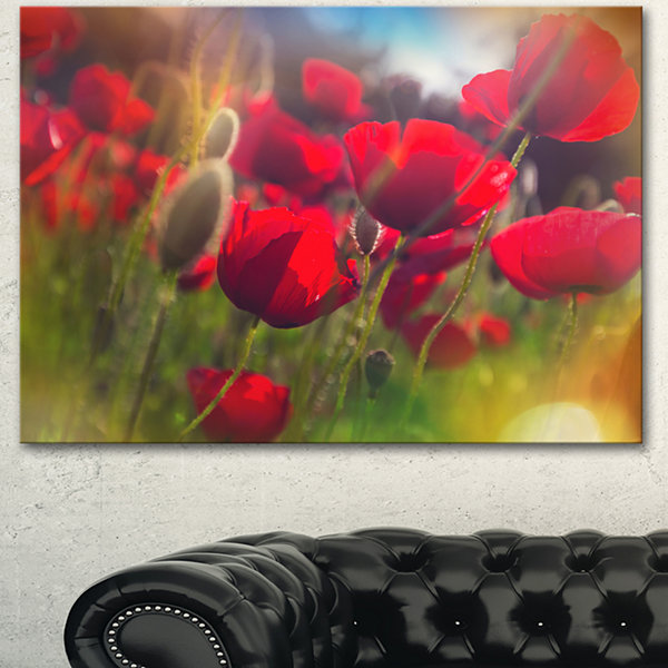 Designart Thick Red Poppy Flowers Floral Canvas Art Print