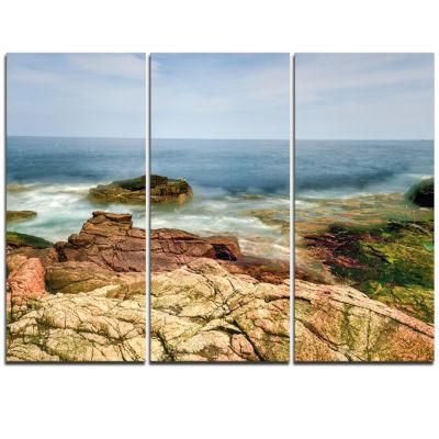 Designart Thunder Hole Acadia National Park Oversized Beach Triptych Canvas Artwork