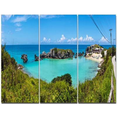 Designart Tobacco Bay Panorama Landscape TriptychCanvas Art Print