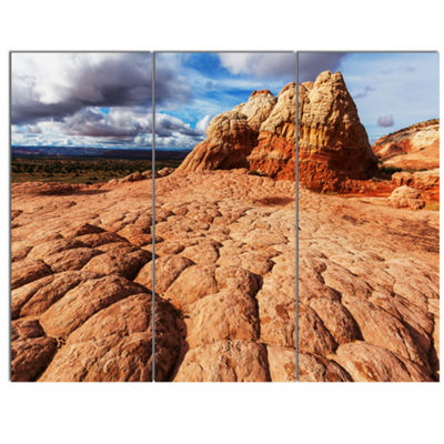 Designart Tough Rocks In Vermillion Cliffs Oversized Landscape Canvas Art - 3 Panels