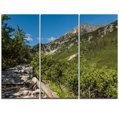 Designart Tourist Trail In High Mountains Landscape Triptych Canvas Art Print
