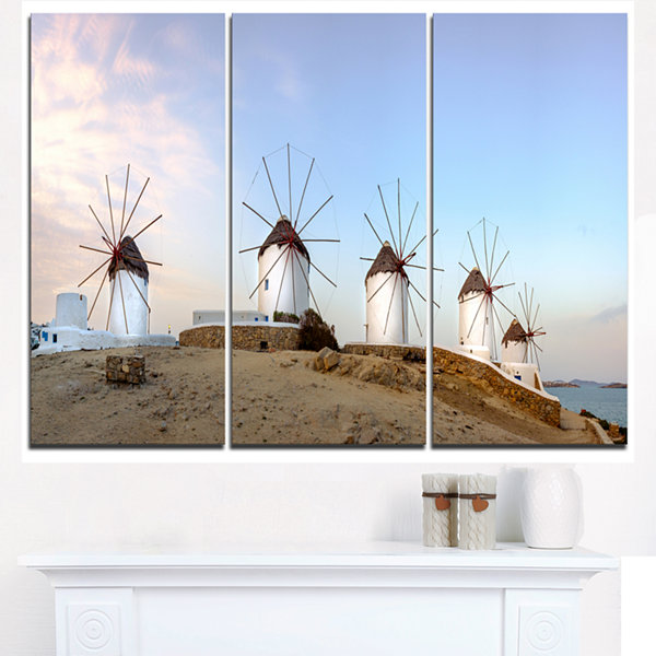 Designart Traditional Greek Windmills Panorama Landscape Triptych Canvas Art Print