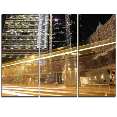 Designart Traffic And Urban Life At Night Cityscape Triptych Canvas Art Print