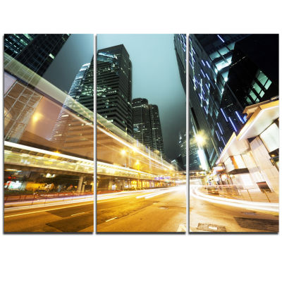 Designart Traffic In Hong Kong At Night CityscapeTriptych Canvas Print