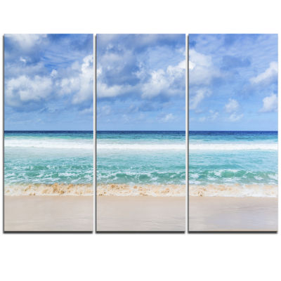 Designart Tranquil Beach Under White Clouds ModernSeascape Triptych Canvas Artwork