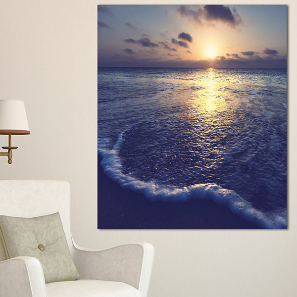 Design Art Tranquil Blue Beach At Sunset SeascapeCanvas Art Print - 3 Panels