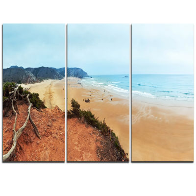 Designart Tranquil Coastline With Waves OversizedBeach Triptych Canvas Artwork