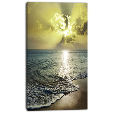 Designart Tranquil Waves Under Beautiful Clouds Large Seashore Canvas Print