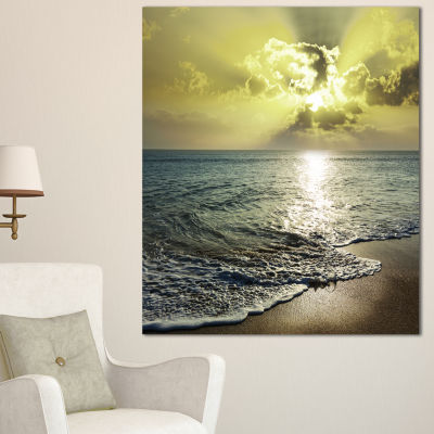 Design Art Tranquil Waves Under Beautiful Clouds Large Seashore Canvas Print - 3 Panels
