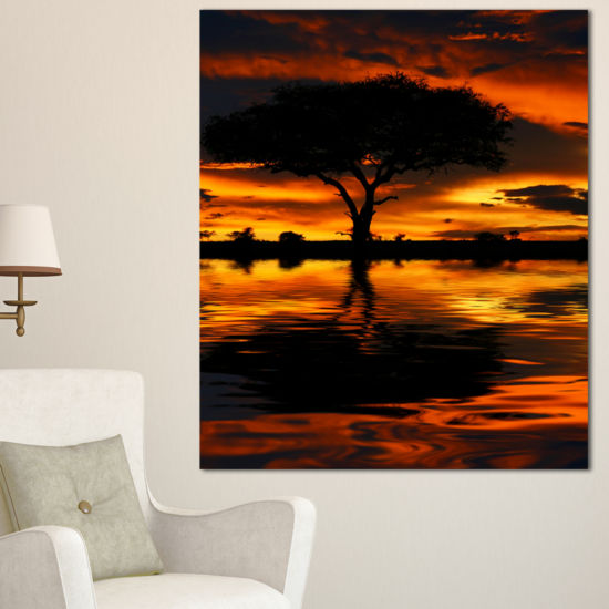 Designart Tree Silhouette And Dramatic Sunset Oversized African Landscape Canvas Art
