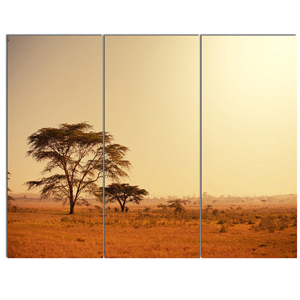 Designart Trees In Large African Landscape AfricanLandscape Canvas Art Print - 3 Panels