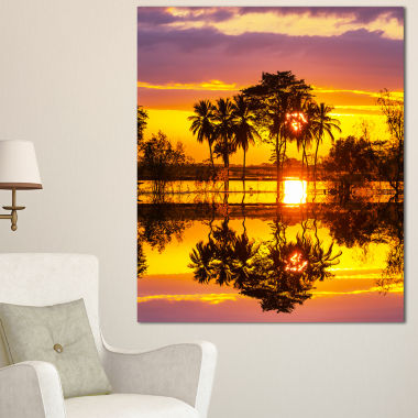 Designart Trees Mirrored In Flooded Waters Landscape Wall Art On Canvas