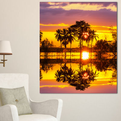 Designart Trees Mirrored In Flooded Waters Landscape Wall Art On Canvas - 3 Panels
